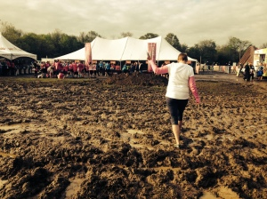 picking my way across the muddy field to gear check.